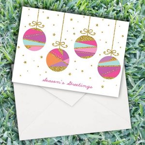 Christmas Glittering Baubles Cards