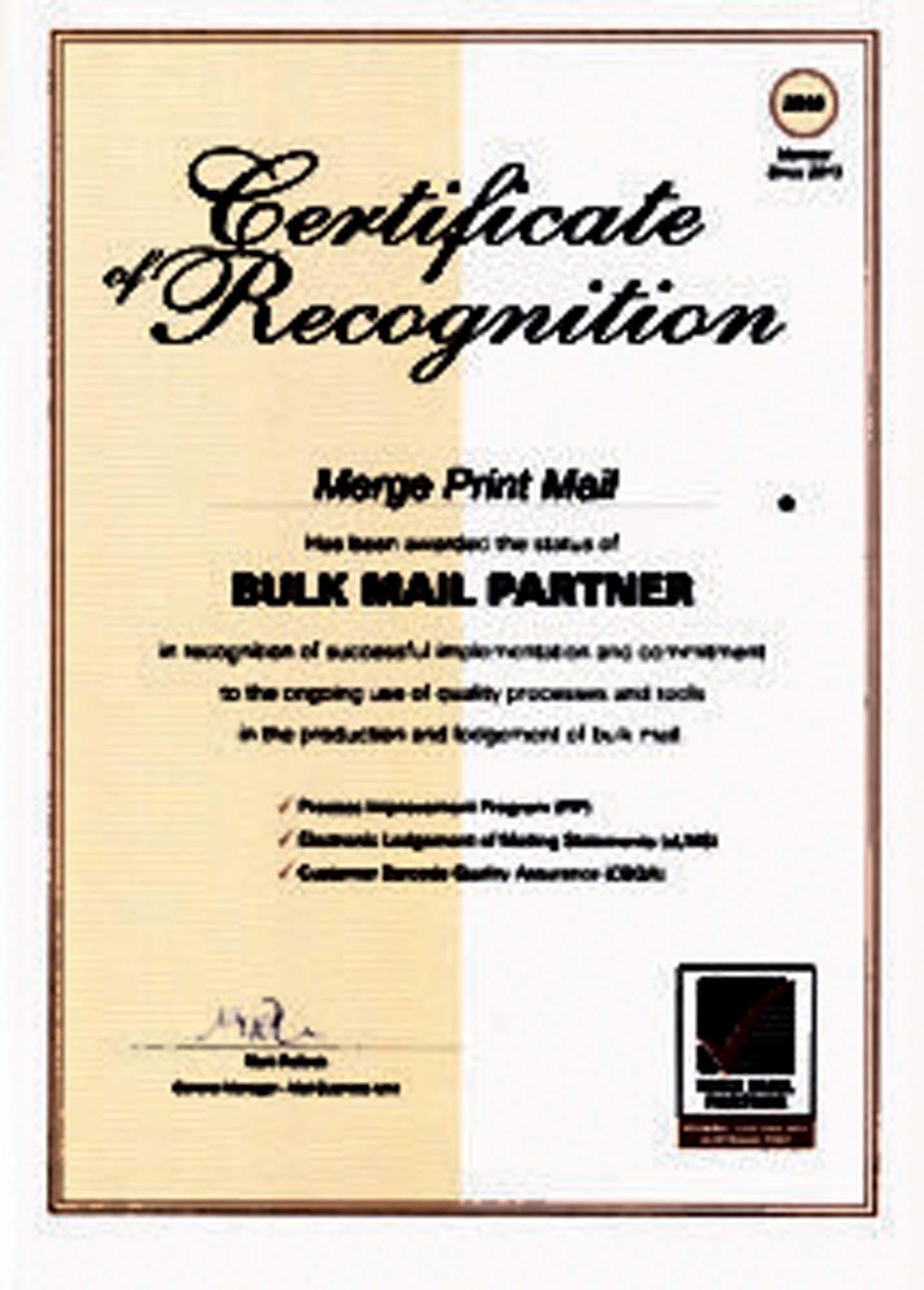 markis bulk mail partner certificate australia post