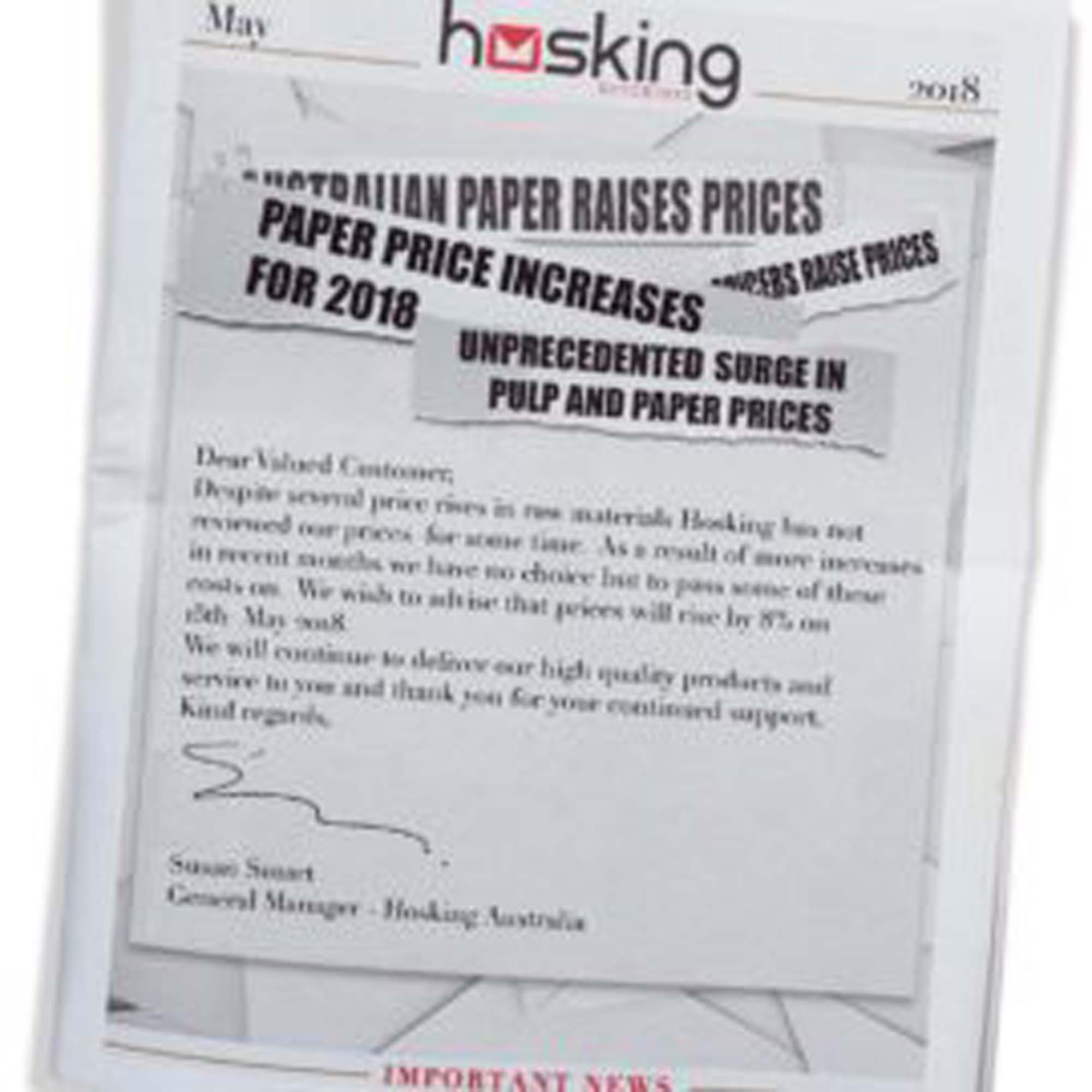 Hosking Price Increase